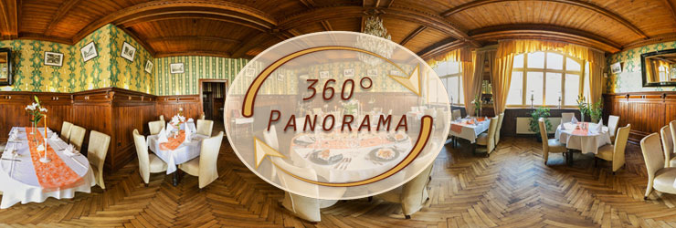 Interaktive 360° Panorama Ansicht des Restaurants